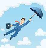 Businessman flying with umbrella in sky.