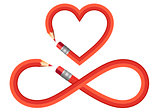 pencil heart and infinity sign, vector set