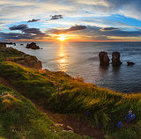 Sunset Atlantic coastline landscape.
