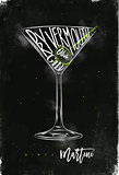 Dirty martini cocktail chalk color