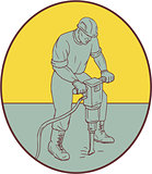 Construction Worker Operating Jackhammer Oval Drawing