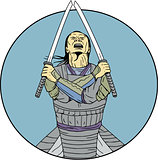 Samurai Warrior Two Swords Looking Up Circle Drawing