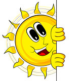 Happy Sun With Banner. Mascot Character.