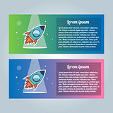 Rocket flyer set. Vector illustration on a white background. Collection of modern trendy brochures.