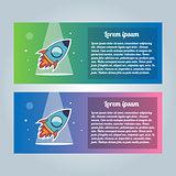 Rocket flyer set. Vector illustration on a white background. Collection of modern trendy brochures.
