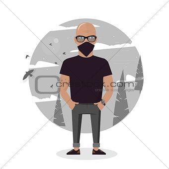 Cartoon thief in black mask. Bad man vector illustration.