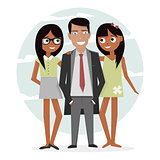 Man surrounded by two beautiful girls. Successful businessman in a suit, macho and handsome. Attractive guy on vacation.