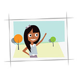Happy young girl in the photo.Vector illustration on a white background.