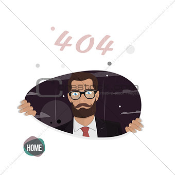 Business man. Page not found, error 404. Illustration for the web site.