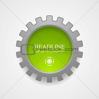 Abstract tech green grey gear vector icon