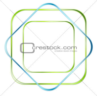 Abstract green and blue glossy squares