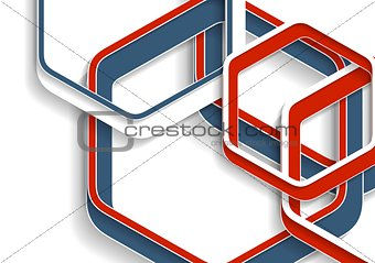 Abstract red and blue hexagons tech background