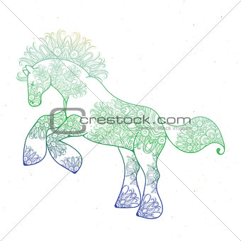 Antistress linear page with horse. Zentangle animal for colouring book, greeting card, mandala decoration element, art therapy.