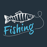 fishing logo isolated on a dark background