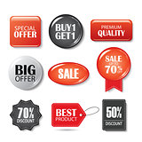 Set of sale buttons and badges. Product promotions. Big sale, sp