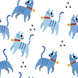 Blue cats pattern seamless