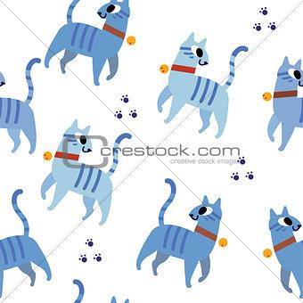 Blue cats pattern seamless