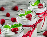 tasty yogurt with raspberries and mint in a glass jars, selectiv