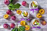 yogurt with ripe plums and mint in the glass jars decorated with