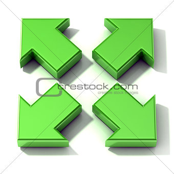 Green 3D arrows expanding. Top view