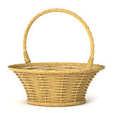 Empty wicker basket. 3D