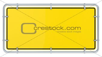 Blank framed warning sign. 3D