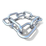 Abstract 3D illustration of a steel chain link