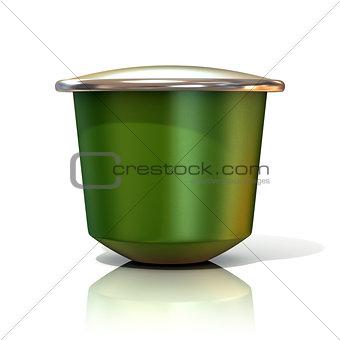 Green coffee capsule. 3D