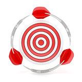 Darts surround a target, 3D
