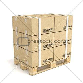 Cardboard boxes on wooden pallet. Deliver concept. 3D