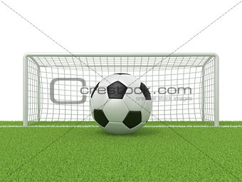 Football - soccer ball in front of goal gate on grass. 3D