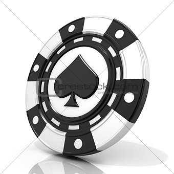 Black gambling chip with spade sign on it. 3D