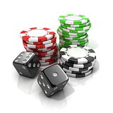 Stacks of red, green, black gambling chips and black dices isola