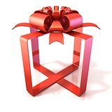 Festive gift ribbon and bow, box shaped, 3D