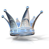 Silver crown isolated on a white background. Side view