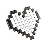 White pixel heart. 3D