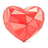Triangulated glossy heart shape. 3D