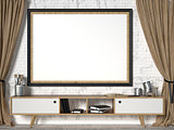 Mock up picture frame with brown curtains. 3D