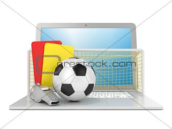 Football concept. Penalty (red and yellow) card, metal whistle,