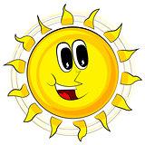 Happy Sun. Vector Illustration Retro Cartoon.