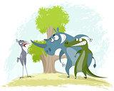 Bird secretary vs rhino and crocodile