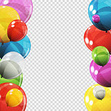 Group of Colour Glossy Helium Balloons with Blank Page Isolated