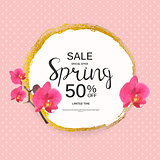 Abstract Design Spring Sale Banner Template. Vector Illustration