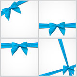 Gift Card with Ribbon and Bow Set. Vector illustration