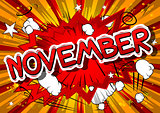 November - Comic book style word.