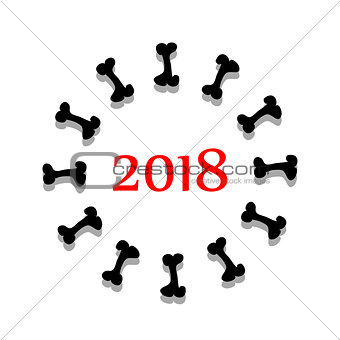 abstract symbol 2018 year with bone. vector