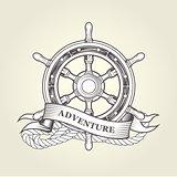 Vintage steering wheel - nautical handwheel emblem