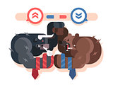 Bulls and bears fight