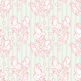 Beautiful floral seamless pattern with roses on light