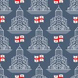 Vector seamless pattern. Georgia  flag and  silhouette church.